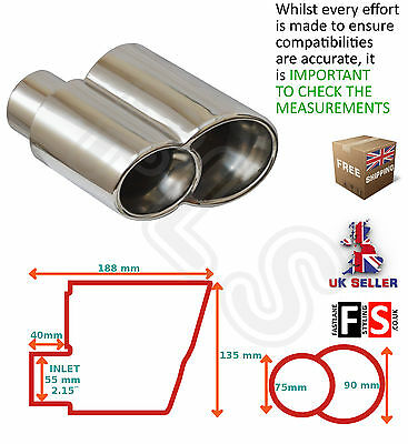 UNIVERSAL STAINLESS STEEL EXHAUST TAILPIPE 55mm IN YFX-0166 – Audi 2