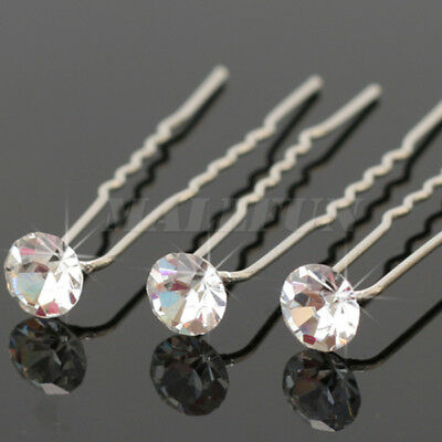 20 Pcs Women Girls Clear Crystal Hair Pins Clips Hairpin For Bride Wedding
