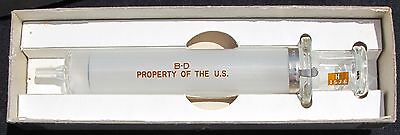 """Vintage 1952 Ideal US NAVY 10cc/ml Glass Syringe NOS marked """"Property of the US"""""""