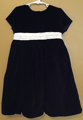 New Girl's Black And White Velor, Party Dress Sz 5