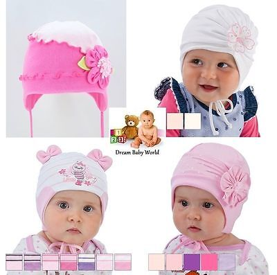 Cotton girls hat spring autumn 6 months - 4 Years BABY GIRLS Tie up KIDS CAP New