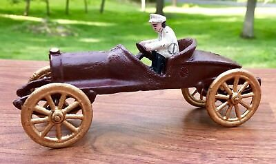 Cast Iron Hubley Vintage Arcade Race Car with Driver Toy