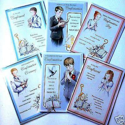 CONFIRMATION CARDS, just 25p! 6 DESIGNS x6, FOILED, WRAPPED, SUPERB! (B298