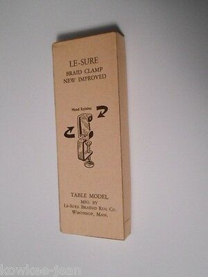Le-sure braid clamp: swivel table clamp for braiding rugs, rugmaking tool, + box