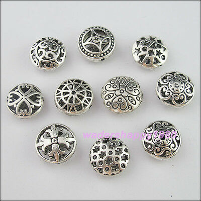 10Pcs Mixed Lots of Tibetan Silver Tone Round Flat Spacer Beads Charms