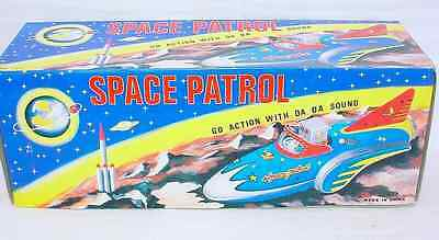 "Collectors Item MF-742  SPACE PATROL ""ROBOT PILOT"" SHIP FRICTION TIN TOY"