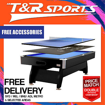8Ft Blue Mdf Pool Snooker Table + Poker + Table Tennis Top Free Metro Post*