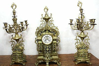 Very Large French Louis XV style gilt bronze clock with 2 candelabra. ( 1800s )