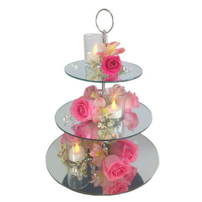 Cupcake Stand 3 Tier Mirror Wedding Table Centrepiece Birthday Party event