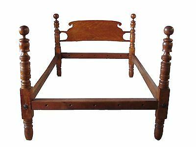 18Th C Antique Solid Birds Eye Maple & Flame Cherry 4 Poster Cannonball Bed