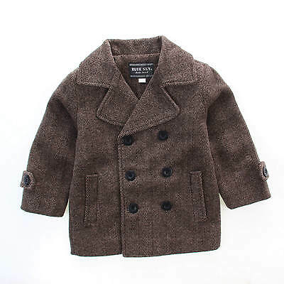 NEW Boys Kids Woven Fully Lined Winter Coat Formal Double in Brown-Grey sz2-10
