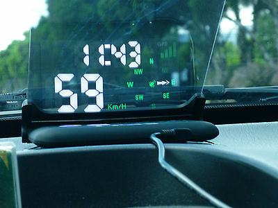 Mustech GPS HUD Heads Up Digital Speedometer Display Integrated Attached Screen