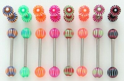 WHOLESALE LOT x 10 BUV56 UV Bulls eye Tongue Barbells * FREE POST *