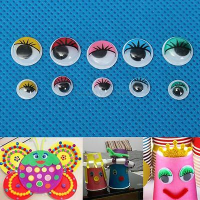 100Pcs Coloured Eyelashes Wiggly Wobbly Googly Eyes For DIY Craft Decoration New
