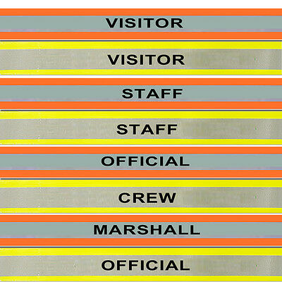 Armbands Reflective VISITOR STAFF CREW SECURITY Hi Vis Yellow Orange Band 5X20""