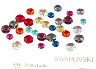 Genuine SWAROVSKI 3200 Rivoli Round Flat Sew-On Stones Crystals * Many Sizes