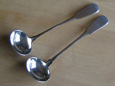 Good Pair Of Antique Scottish Provincial Silver Ladles, Jamieson Aberdeen