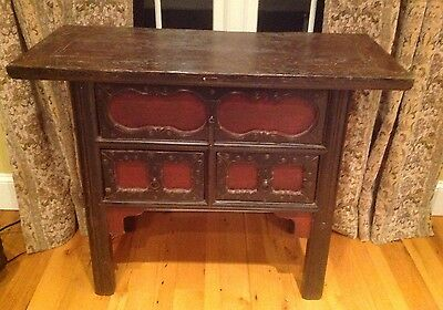 Chinese Antique Carved Wood Black & Red Paint Table Server Antique Nice!
