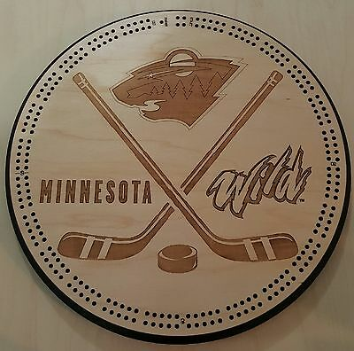 Minnesota Wild Hockey Puck Cribbage Board