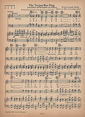 USC TROJANS Vintage Song c1906 Clear the Way for U.S.C.