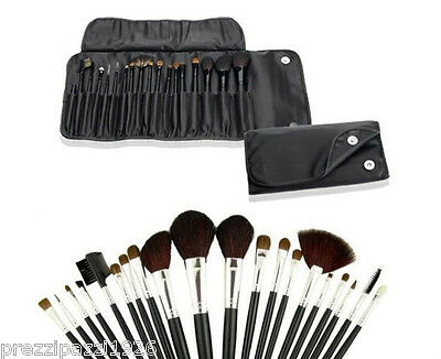 Set da 18 pennelli Make Up professionali + pochette set Cosmetic Brush trucco