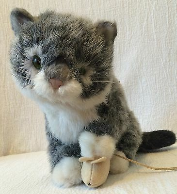 Avanti Baby Animals Plush Applause 1985 Grey Tabby Kitten Holding Mouse