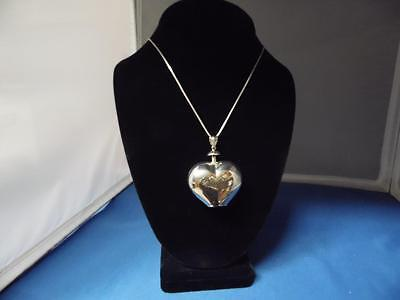 Be Still my HEART Vintage Sterling Silver (14.4g) PENDANT w/24in box chain