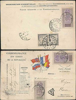 French Upper Senegal + Niger Military Card Postage Due 1919