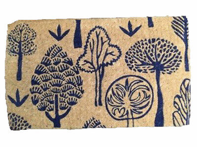 DIVINE 100% Coir QUALITY Doormat Door Mat Large 75x45 Navy Trees Natural ONE OFF