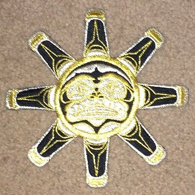 """Aztec Native American Style Embroidered Patch 6"""" Black Gold & Silver Sun God"""