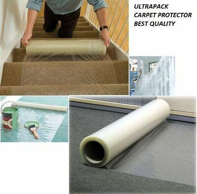 50 METER Carpet Floor Protection Self Adhesive Protector CLEAR Sheet Film