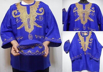 African Mens Rayon Brocade Top Dashiki Shirt Women Caftan with Hat One Size Plus