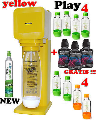 Sodastream Play drink water maker Yellow 9 Bottles 1 Gaz 3 Syrup Energy Gratis !