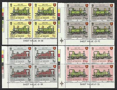 ISLE OF MAN 1973 STEAM RAILWAY CENTENARY TRAINS 4v Lower Left Corner Blocks MNH