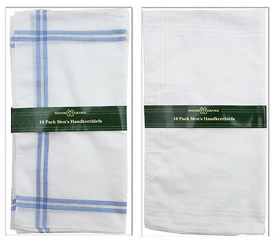 20 Mens Walter Grange Hankies Handkerchiefs White Plain / Coloured Border