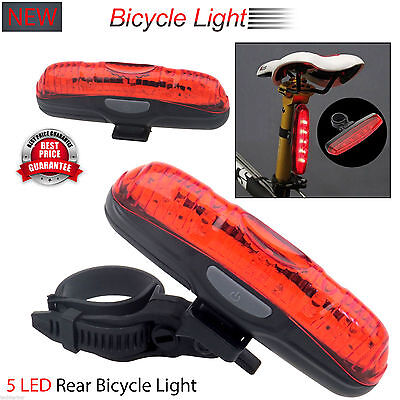 5 Led Waterproof Rear Tail Light Lamp Bike Bicycle Cycle Back Taillight Uk – New