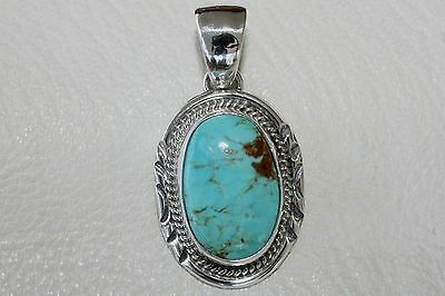 Signed Navajo Sterling Silver Harcross Turquoise Pendant