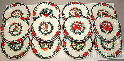 """Tienshan DECK THE HALLS 12 Days Of Christmas Accent Salad Plates 7 1/2"""""""