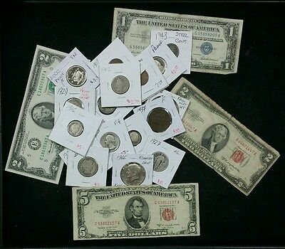 U.S. Old Coins Estate, Large Collection With Over 20 Coins & Old Currency !!