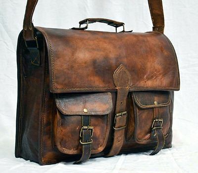 "15""New Men's Leather messenger shoulder bag vintage briefcase laptop bags dslr"