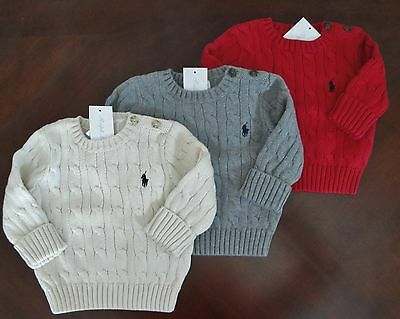 NWT Ralph Lauren Infant Boys Cotton Cable Knit Holiday Red Sweater 3m NEW $50