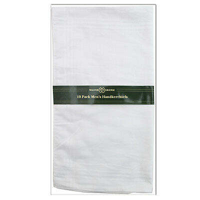 Bulk Pack Of 100 (10 x 10 packs) Walter Grange White Mens Handkerchiefs / Hankys