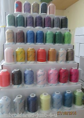 40 X1000m SPOOLS POLYESTER  - MACHINE EMBROIDERY THREADS -  ## EN71 CERTIFIED ##