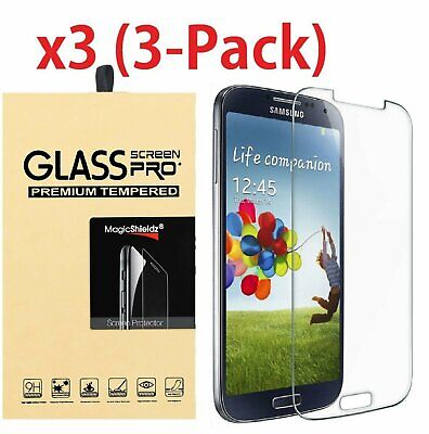 3-PACK Tempered Glass Screen Protector Film for Samsung Galaxy S4