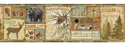 Deer Camp Wallpaper Border - 2 Colors Available - Bear - Pines - Mountains