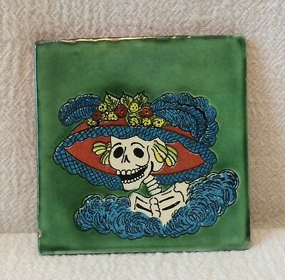 "One 4"" Mexican Pottery Tile Day of The Dead Skeleton La Calavera Catrina"