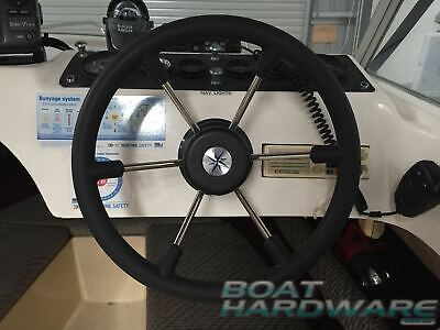 Boat Steering Wheel 6 Spoke Dished 360mm Made in Italy Marine Stainless Steel