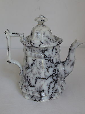 Antique Mulberry Marble Ironstone Teapot