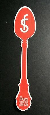 SPOON IS MIGHTIER THAN THE SWORD SPOON FED SPOONFED RED 2x7 MUSIC STICKER
