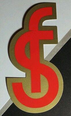 "SPOONFED SPOON FED GOLD RED/ORANGE SF LETTERS 2.5"" x 4.5"" RARE STICKER"